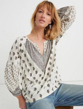 Printed Peasant Top | Lucky Brand