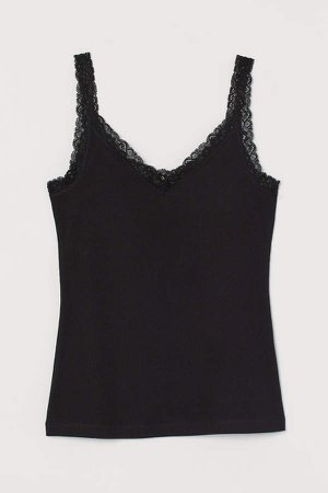 Lace-trimmed Tank Top - Black