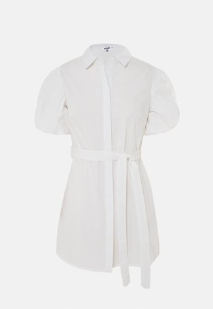 White Puff Sleeve Belted Shirt Dress | Missguided