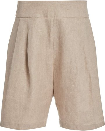 Matin Pleated Cotton-Twill Shorts