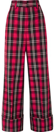 Tartan Twill Wide-leg Pants - Red