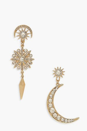 Sun & Moon Diamante Statement Earrings | Boohoo