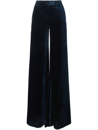 Emilio Pucci Blue Velvet Wide Leg Trousers Emilio Pucci Women's Blue Velvet Wide Leg Pants