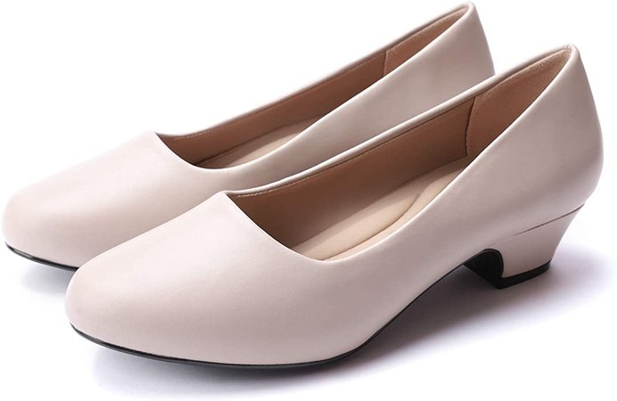 Amazon.com | GUCHENG Women's Dress Pumps Low Heels - Formal White Wedding Shoes(5 M US, Bone | Pumps