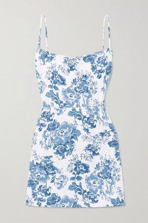 White Violaine floral-print linen mini dress   Reformation   NET-A-PORTER