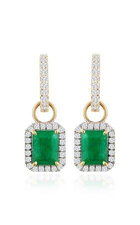 14K Gold, Emerald And Diamond Earrings by Mateo x Muzo | Moda Operandi