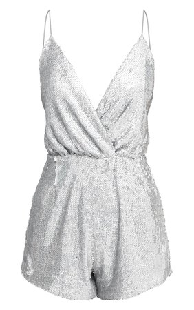 Silver Strappy Sequin Wrap Playsuit