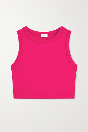 Cropped Stretch-terry Tank - Bright pink