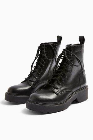 KACY Black Low Lace Boots   Topshop