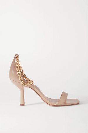 Beige Chain-embellished leather sandals   Porte & Paire   NET-A-PORTER