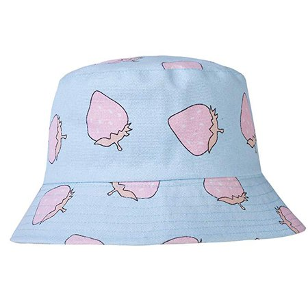 ZLYC Unisex Cute Print Bucket Hat Summer Fisherman Cap (Strawberry Blue) at Amazon Women's Clothing store