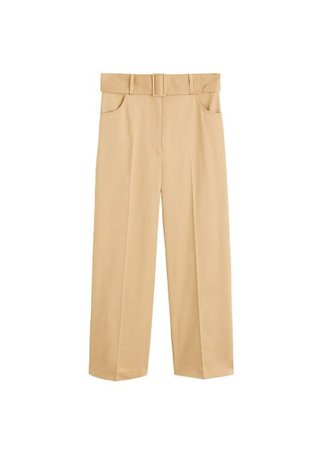 MANGO Belt cotton-blend pants