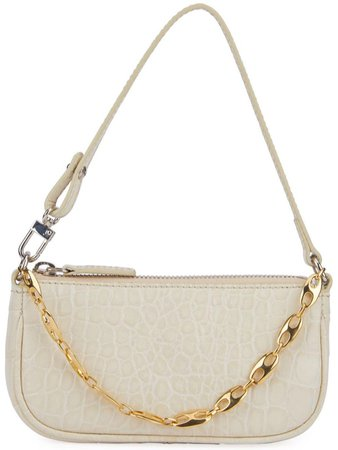 BY FAR Neutral Croc Rachel Mini Handbag