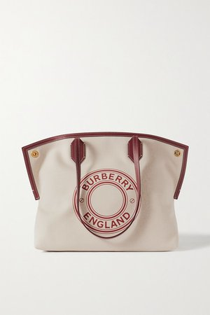 Leather-trimmed Printed Canvas Tote - Neutral