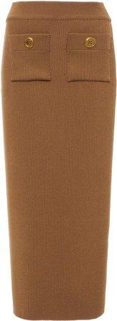 Balmain High-Rise Ribbed-Knit Pencil Skirt