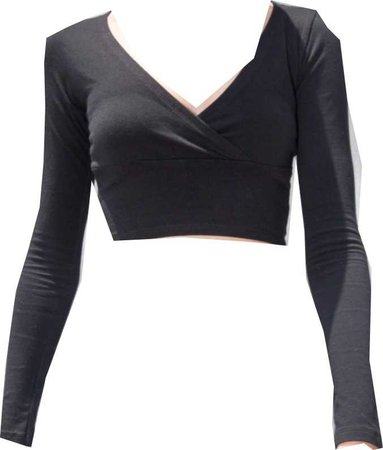 black, cropped long sleeve wrap top