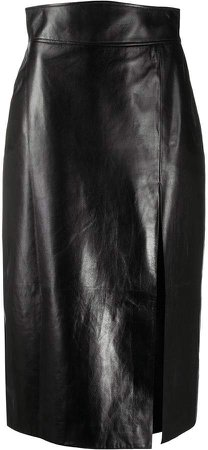 leather high-waisted pencil skirt