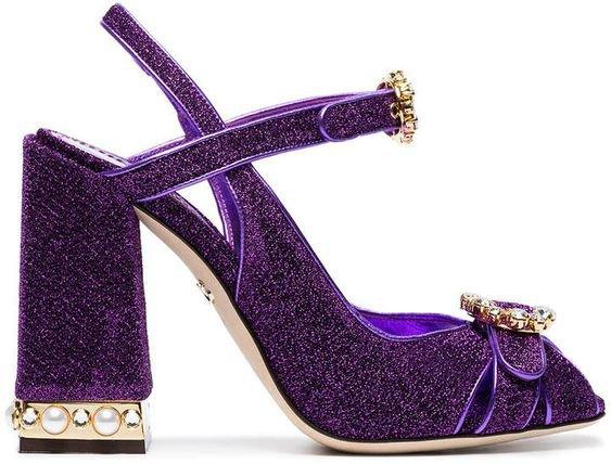 Dolce & Gabbana Bette 105 lurex pearl crystal embellished sandals