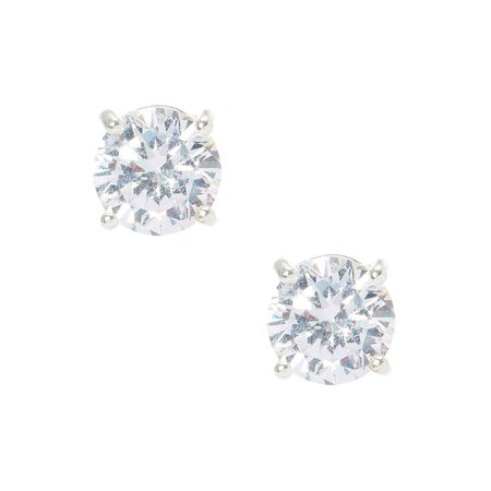 Silver Cubic Zirconia 8MM Round Stud Earrings | Claire's