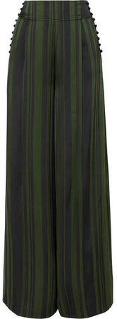 ADEAM - Striped Satin Wide-leg Pants - Emerald
