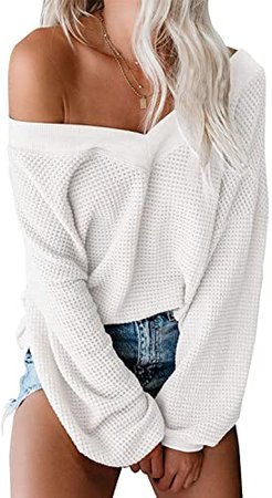 ReachMe Women's Oversized Off Shoulder Pullover Tops Long Sleeve Loose Fit Waffle Knit Tops at Amazon Women's Clothing store