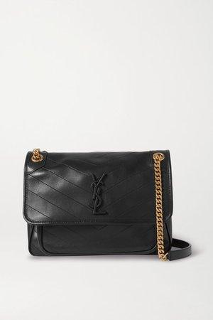 Niki Medium Quilted Leather Shoulder Bag - Black