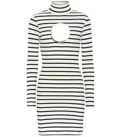 Striped stretch-jersey minidress