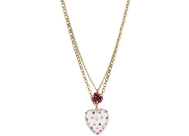 Betsey Johnson Gold-Tone Confetti Lucite Heart and Rose 2-Layer Pendant Necklace: Clothing
