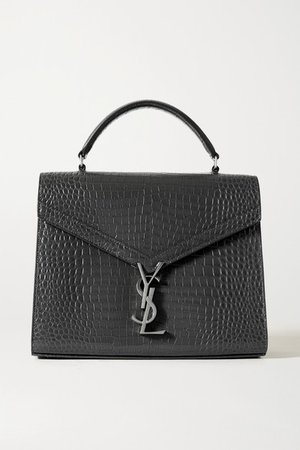 Cassandra Medium Croc-effect Leather Tote - Dark gray