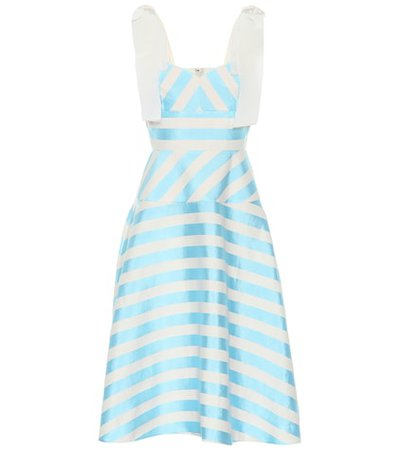 Striped linen-blend midi dress