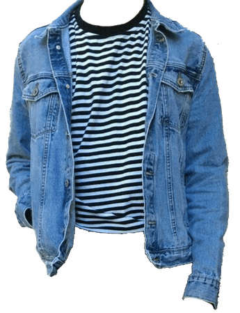 jean jacket with striped shirt