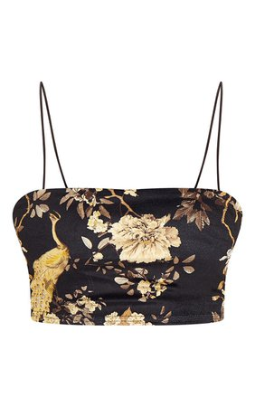 *clipped by @luci-her* Black Floral Velvet Strappy Crop Top | Tops | PrettyLittleThing USA