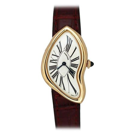 Vintage Cartier France Crash 18 Karat Rose Gold Watch circa 1993 at 1stDibs