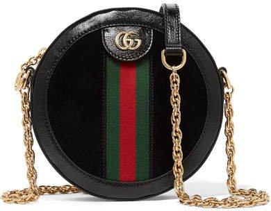 Ophidia Mini Patent Leather-trimmed Suede Shoulder Bag - Black