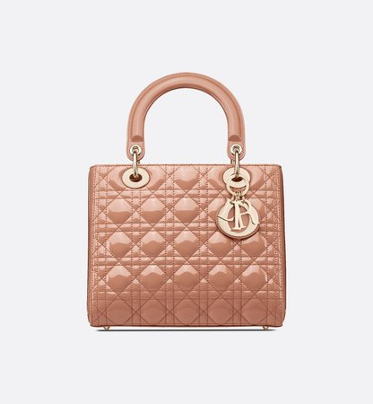 Rose Des Vents Lady Dior Patent Calfskin Bag Women's Fashion