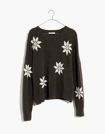 Floral Intarsia Pullover Sweater black