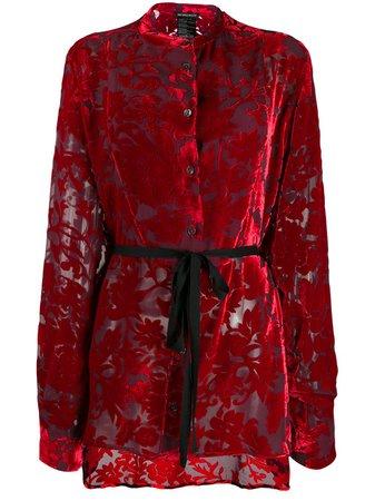Red Ann Demeulemeester Tie Waist Floral Pattern Blouse   Farfetch.com