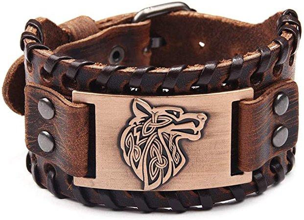 Amazon.com: TURTLEDOVE Viking Bracelet Wolf Fenrir - Vintage Nordic Scandinavian Talisman - Gothic Bracelet for Celtic Pagan: Jewelry