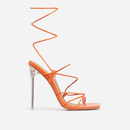 Sunbathe Square Toe Lace Up Clear Perspex Heel In Orange Faux Leather | EGO