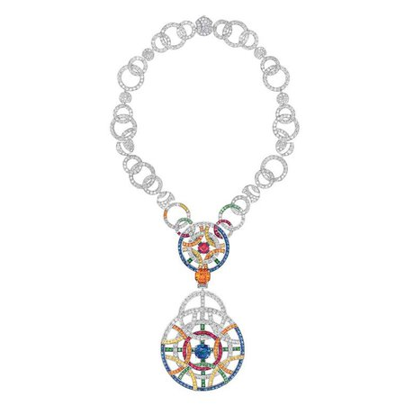 Chanel Café Society pendant necklace set with a spessartite, diamonds, blue and yellow sapphires, red spinels, orange grenats and tsavorites
