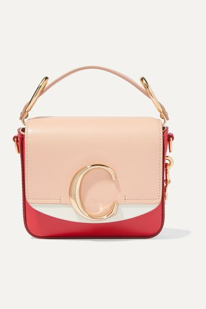 Pink Chloé C mini color-block leather shoulder bag | Chloé | NET-A-PORTER