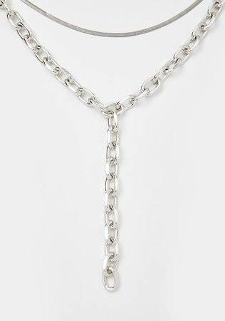 Layered Chain Drop Necklace - Silver | Dolls Kill