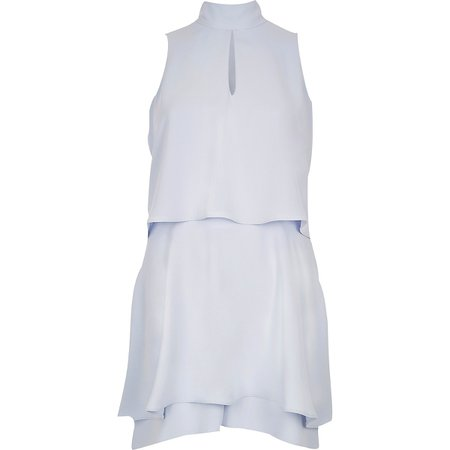 Light blue high neck tiered frill playsuit - Playsuits & Jumpsuits - Sale - women