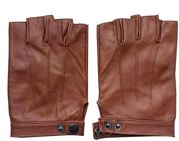 May&Maya Women's Genuine Nappa Leather Fingerless Motorcycle Fashion Driving Gloves (M, Yellow) at Amazon Women's Clothing store