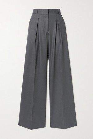Sophie Pleated Wool-flannel Wide-leg Pants - Gray