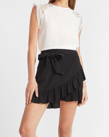 High Waisted Ruffle Tie Mini Skirt