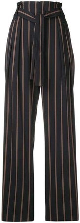 striped belted high waist trousers