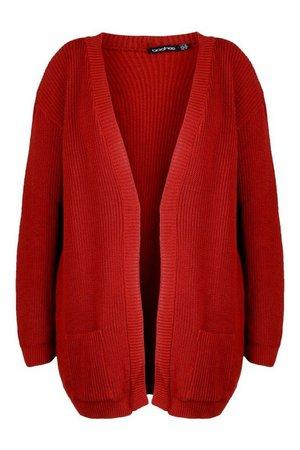 Plus Boyfriend Knitted Cardigan | Boohoo