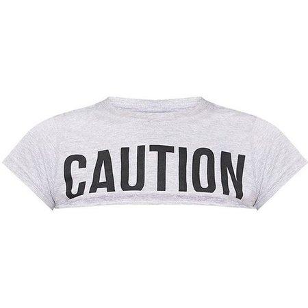 Yellow CAUTION Slogan Extreme Crop T Shirt
