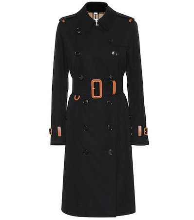 Leather-trimmed cotton trench coat